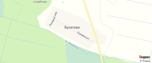 Полевая улица на карте деревни Булатова с номерами домов