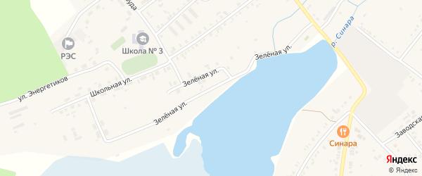 Зеленая улица на карте села Тюбука с номерами домов
