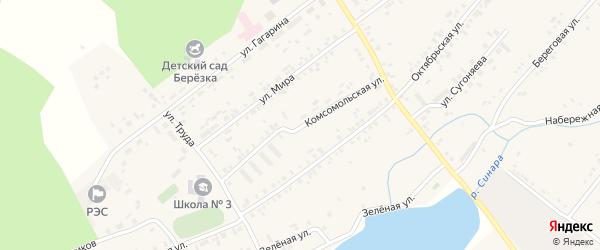 Комсомольская улица на карте села Тюбука с номерами домов