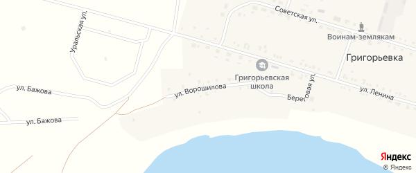 Улица Ворошилова на карте деревни Григорьевки с номерами домов
