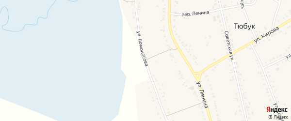 Улица Ломоносова на карте села Тюбука с номерами домов