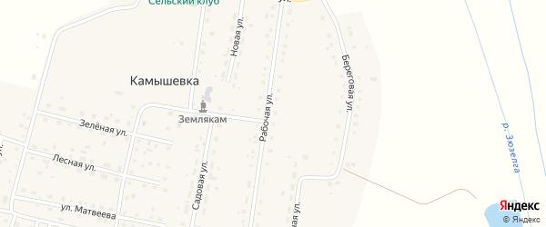 Малиновая улица на карте деревни Камышевки с номерами домов