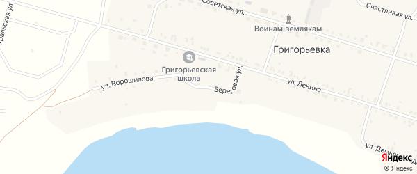Береговая улица на карте деревни Григорьевки с номерами домов
