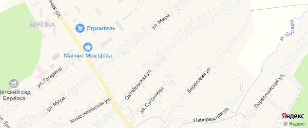 Октябрьская улица на карте села Тюбука с номерами домов