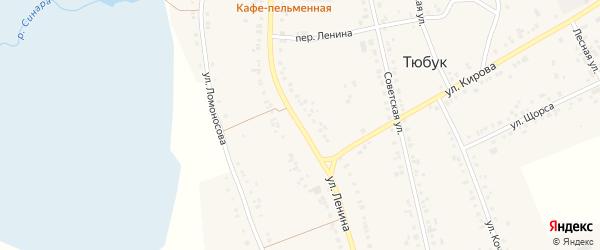 Улица Ленина на карте села Тюбука с номерами домов