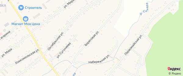 Береговая улица на карте села Тюбука с номерами домов