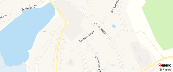 Заводская улица на карте села Тюбука с номерами домов