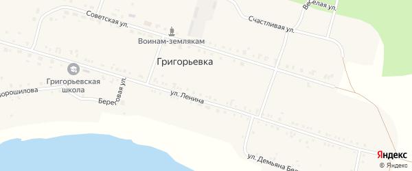 Улица Демьяна Бедного на карте деревни Григорьевки с номерами домов