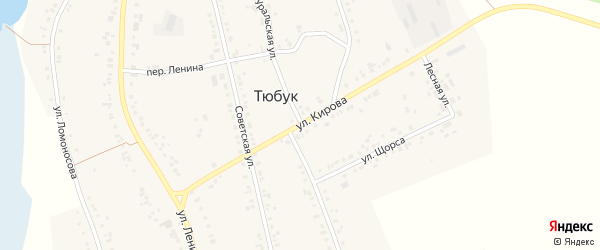 Улица Кирова на карте села Тюбука с номерами домов