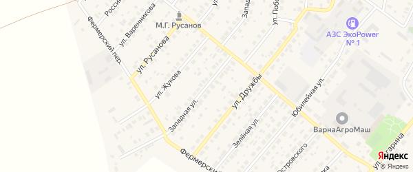 Западная улица на карте села Варны с номерами домов