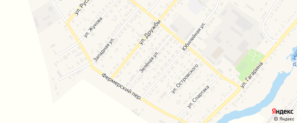 Зеленая улица на карте села Варны с номерами домов