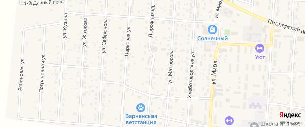 Дорожная улица на карте села Варны с номерами домов