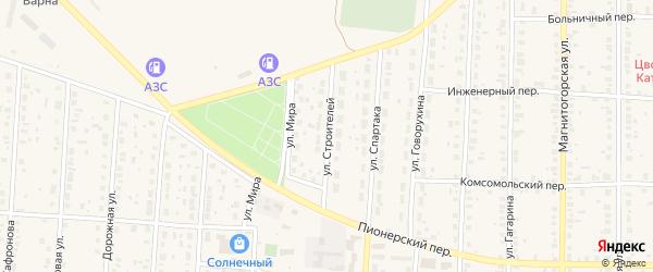 Улица Строителей на карте села Варны с номерами домов