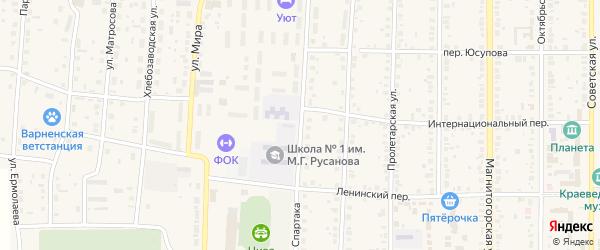 Улица Спартака на карте села Варны с номерами домов