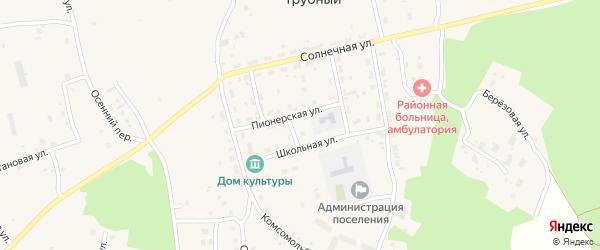 Пионерский переулок на карте Трубного поселка с номерами домов