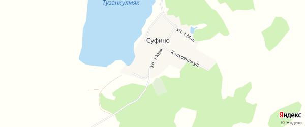 Карта деревни Суфино в Челябинской области с улицами и номерами домов