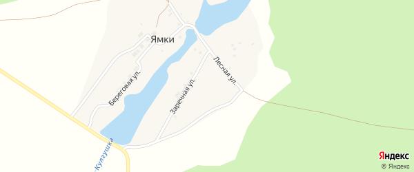 Лесная улица на карте деревни Ямки с номерами домов