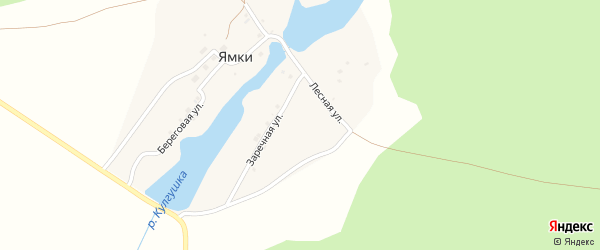 Заречная улица на карте деревни Ямки с номерами домов