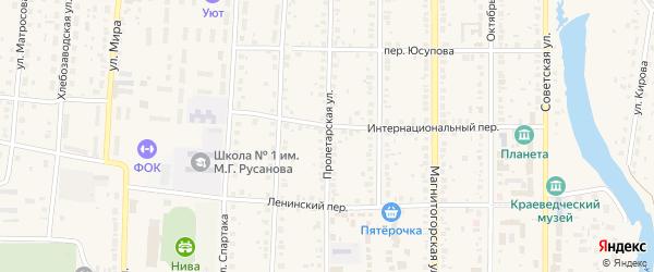 Пролетарская улица на карте села Варны с номерами домов