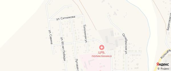 Тополинная улица на карте села Варны с номерами домов