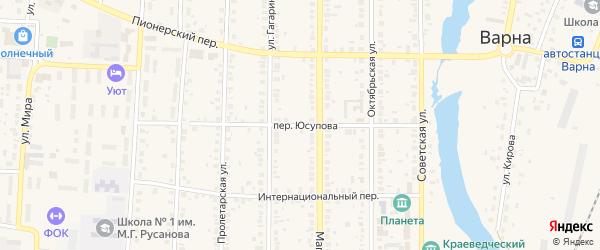 Переулок Юсупова на карте села Варны с номерами домов