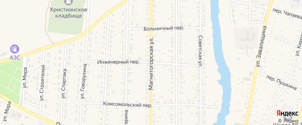 Инженерный переулок на карте села Варны с номерами домов