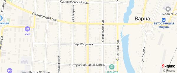 Комсомольский переулок на карте села Варны с номерами домов