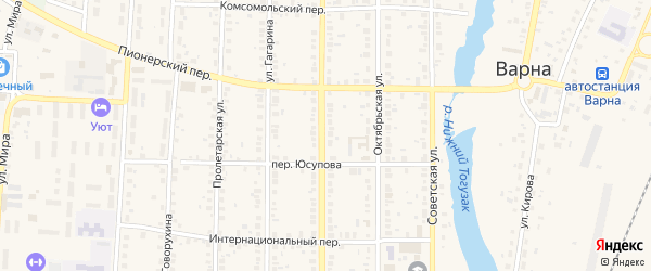 Улица Султана Якупова на карте села Варны с номерами домов