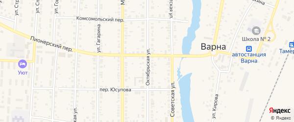 Октябрьская улица на карте села Варны с номерами домов