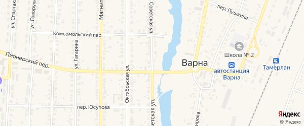 Советская улица на карте села Варны с номерами домов