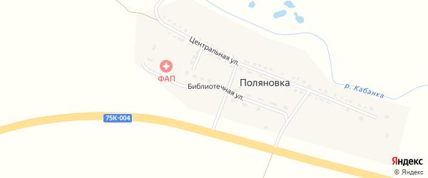 Библиотечная улица на карте села Поляновки с номерами домов