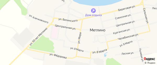 Карта поселка Метлино города Озерска в Челябинской области с улицами и номерами домов