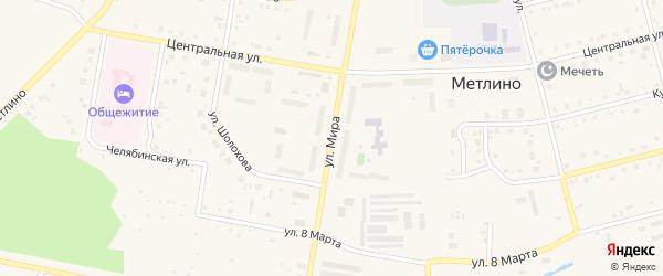Улица Мира на карте поселка Метлино с номерами домов