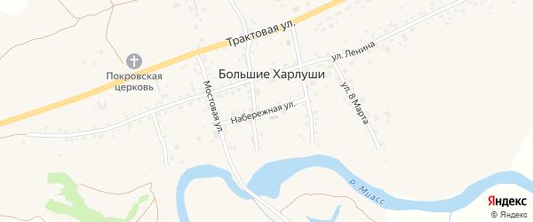 Набережная улица на карте села Большие Харлуши с номерами домов