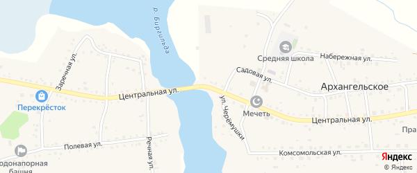 Центральная улица на карте Архангельского села с номерами домов