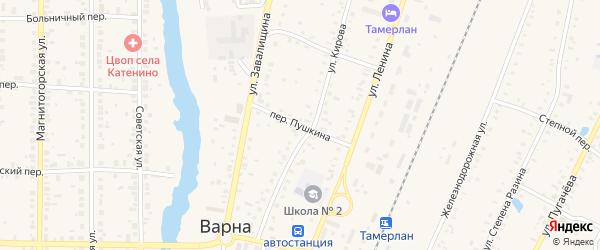Переулок Пушкина на карте села Варны с номерами домов