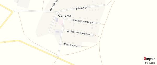 Улица Механизаторов на карте поселка Саламат с номерами домов