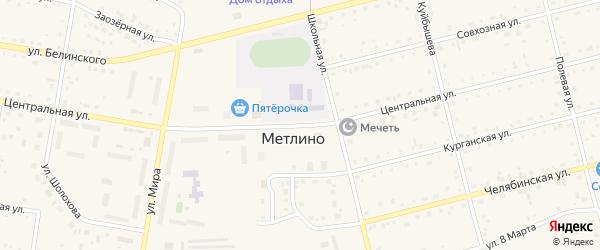 Центральная улица на карте поселка Метлино с номерами домов