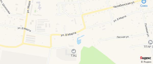 Улица 8 Марта на карте поселка Метлино с номерами домов