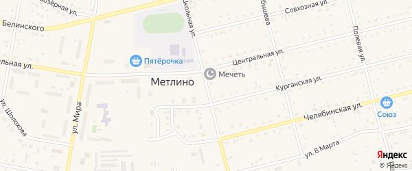 Школьная улица на карте поселка Метлино с номерами домов