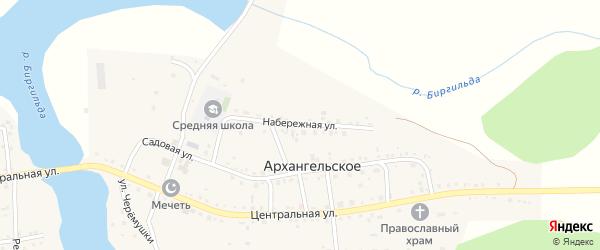 Набережная улица на карте Архангельского села с номерами домов