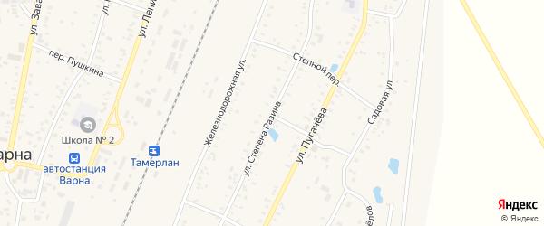 Улица Степана Разина на карте села Варны с номерами домов