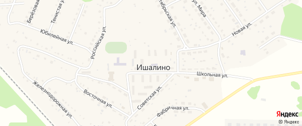 Улица Надежды на карте поселка Ишалино с номерами домов