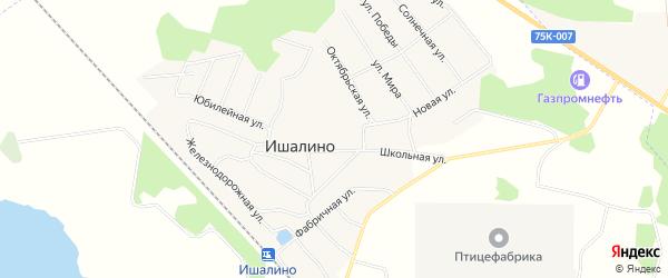 Карта поселка Ишалино в Челябинской области с улицами и номерами домов