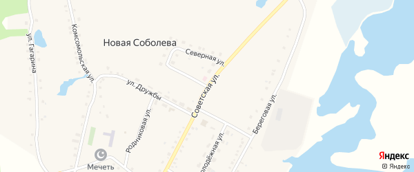 Советская улица на карте деревни Новая Соболева с номерами домов