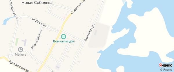 Береговая улица на карте деревни Новая Соболева с номерами домов