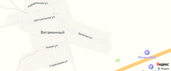 Зеленая улица на карте Витаминного поселка с номерами домов