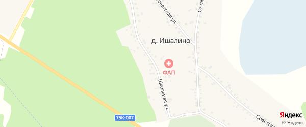 Школьная улица на карте деревни Ишалина с номерами домов