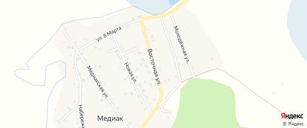 Восточная улица на карте деревни Медиака с номерами домов