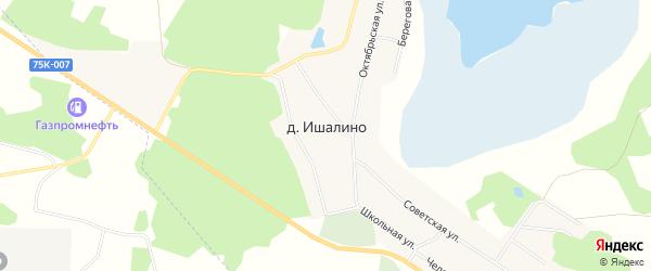 Карта деревни Ишалина в Челябинской области с улицами и номерами домов